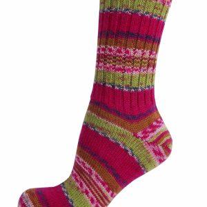 Ladies Fair Isle Socks - Pink Rose